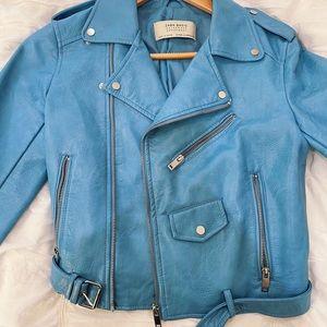 Zara blue motor leather jacket